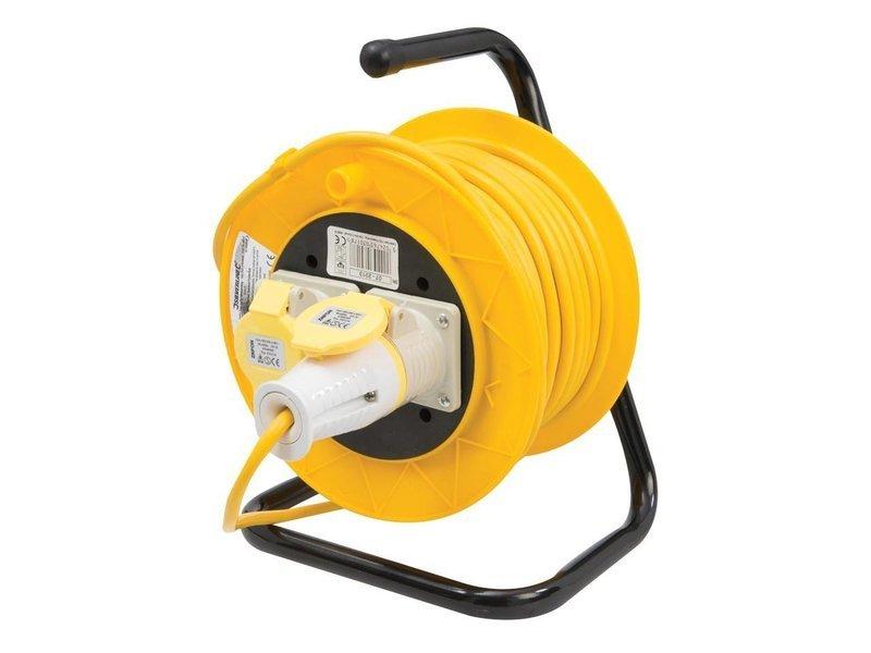 Power Master Cable Reel 110V Freestanding 2 Socket 16A 25m