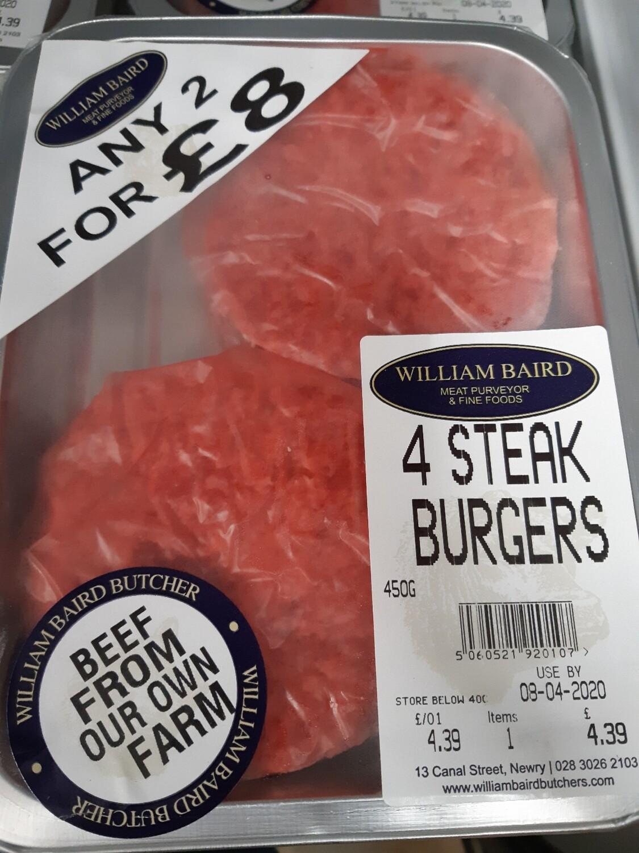 Zz Steak Burgers (2 packs of 4 For £9.00)