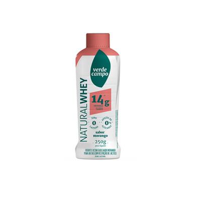 Iogurte Desnatado Natural Whey 14g Morango (250g) - Verde Campo