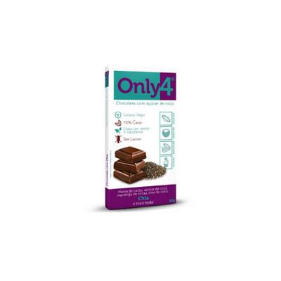 Chocolate com açúcar de coco - Sabor Chia (80g) - Only4