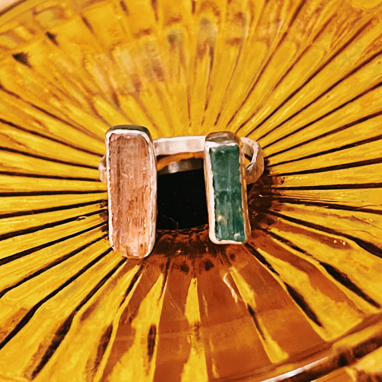 Разъёмное кольцо с желтым топазом и голубым турмалином