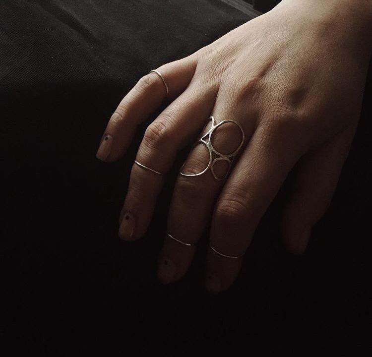 Серебряное кольцо из маленьких колечек