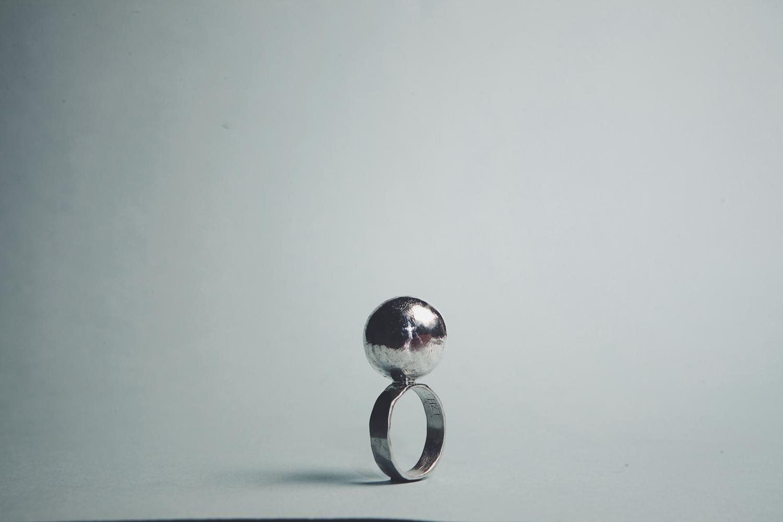 Серебряное кольцо с серебряным шаром
