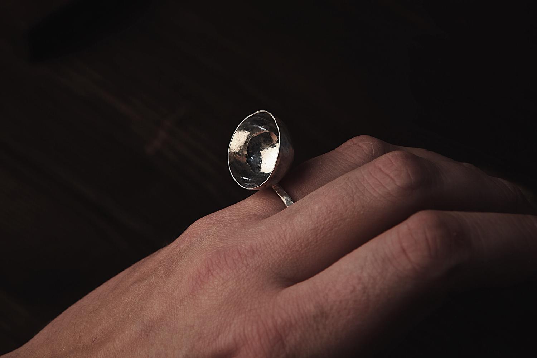 Серебряное кольцо с полусферой