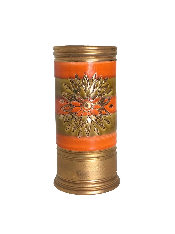Mid Century Bitossi Art Pottery Column Vase in Orange and Gold