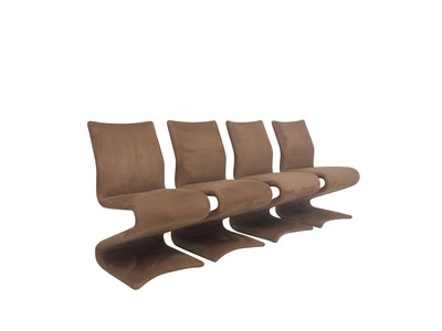 Modern Set of 4  Z Chairs in Suede
