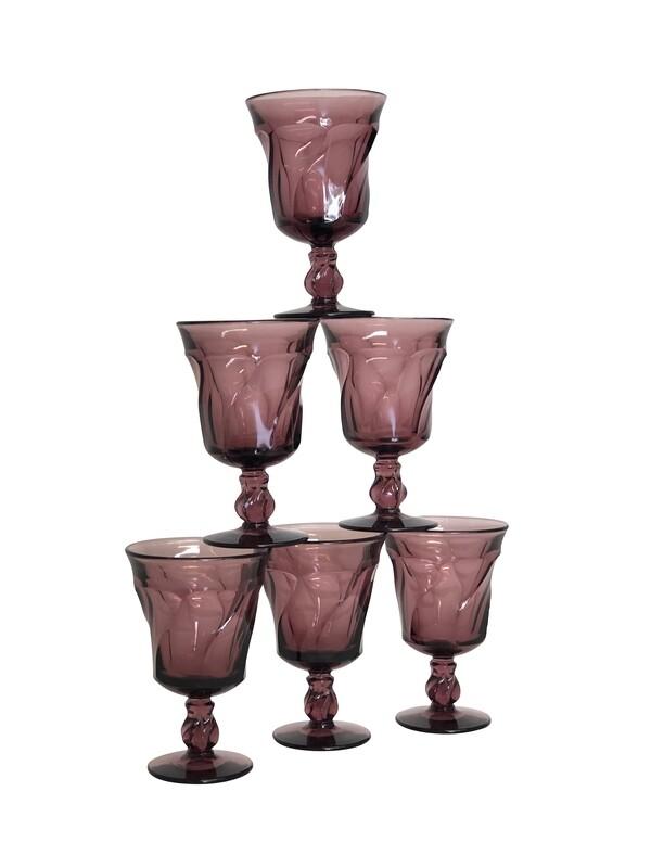 Set of 6 Fostoria Water Glasses in Aubergine