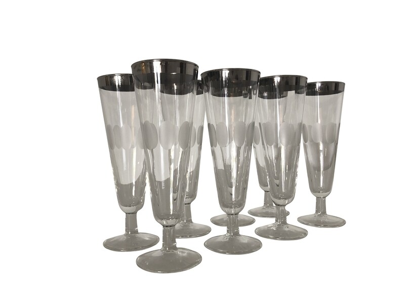 Set of 8 Mid Century Modern Pilsner Thumb Print Glasses