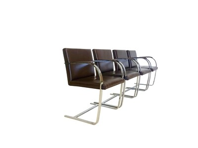 Mid Century Modern Leather and Chrome Brno Armchairs by Mies Van Der Rohe