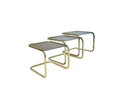 Milo Baughman Brass & Glass Nesting Tables - Set of 3