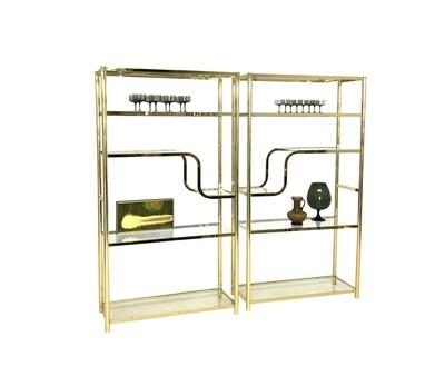 Mid Century Brassed Pair of Etageres Display Shelves