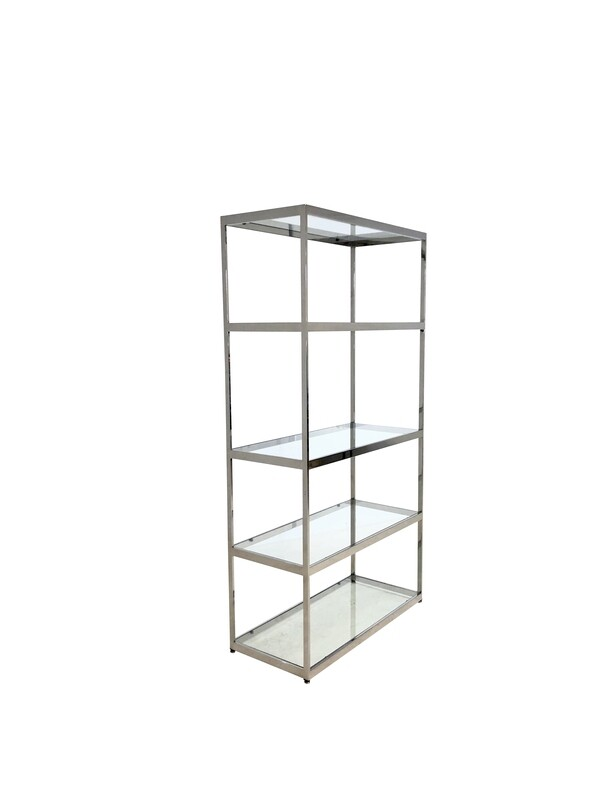 Mid Century Modern Milo Baughman Style Chrome and Glass Etagere Shelves