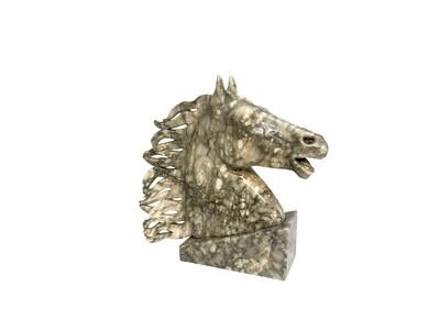 Mid Century Marble Horse Head  Bust on Marble Base