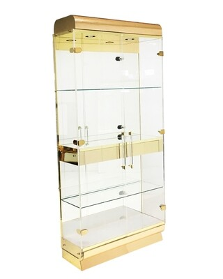 Mid Century Lucite and Brass Display Cabinet with Drawer