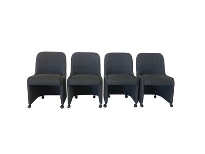 Vintage Set of 4 Upholstered Dining Chairs on Casters