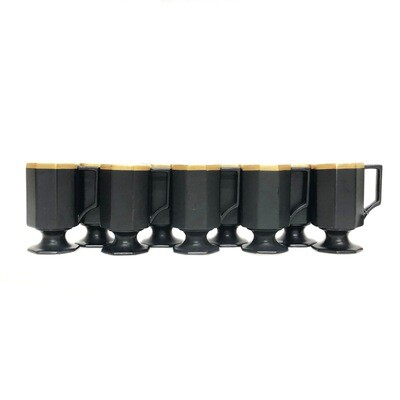 Set of 9 Vintage Ernest Sohn Coffee Mugs in Black Gold and White