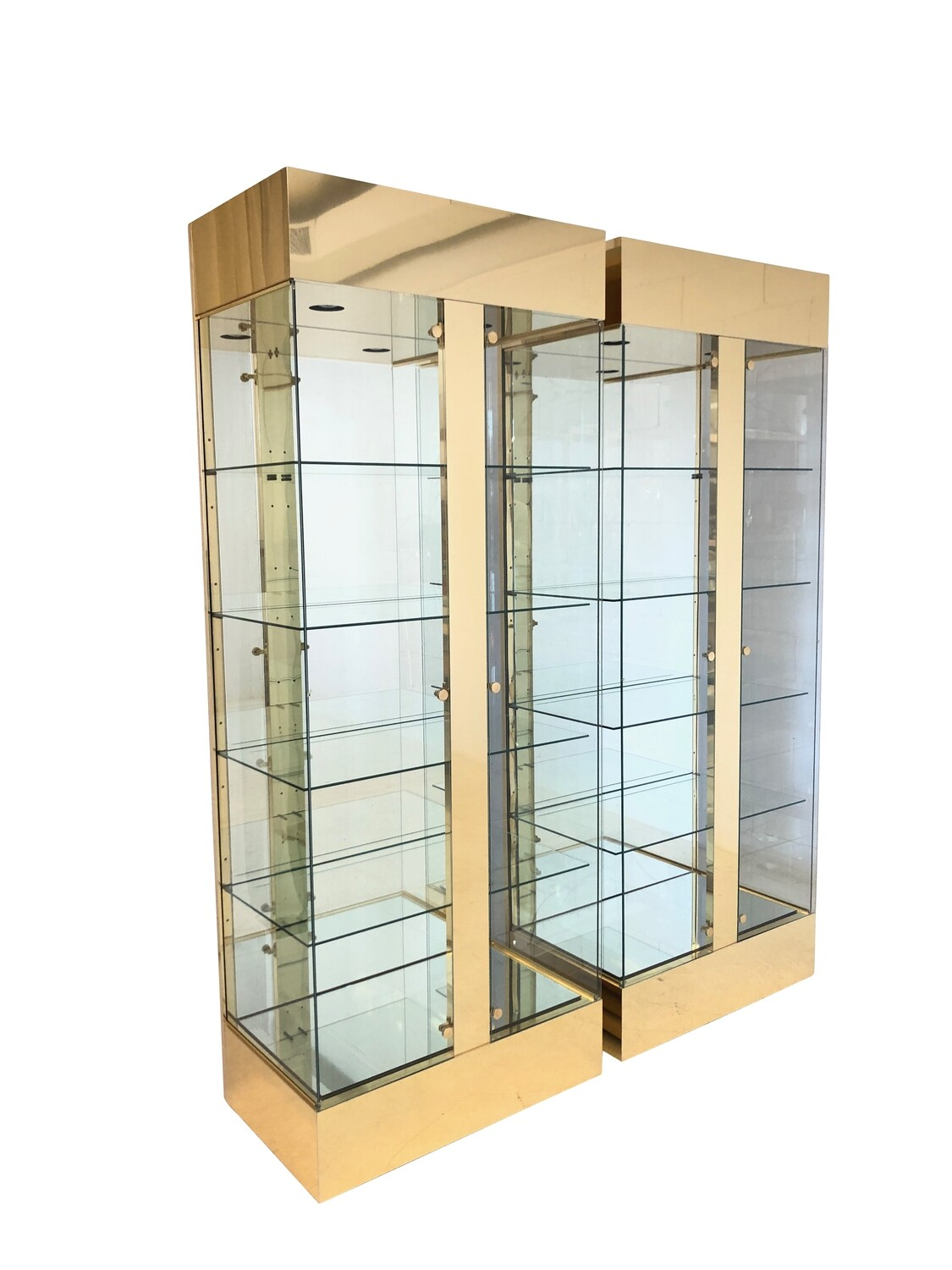 Pair of Lighted Brass and Glass Curios/ Display Cabinets