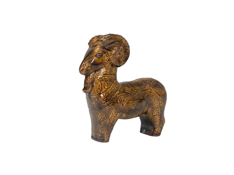 Mid Century Modern Ceramic Horned Sheep Bitossi Style