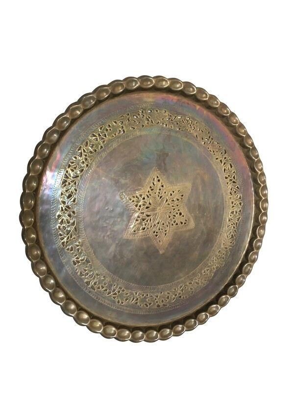 Monumental Antique Brass Platter Tray