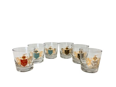 Set of 6 Rocks Glasses with Colored Lion Emblems