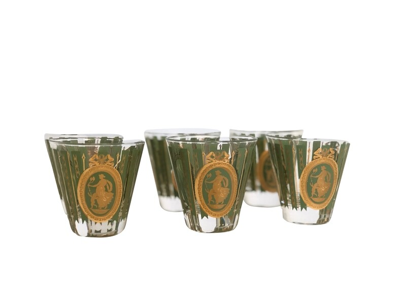 Mid Century Modern Set of 6 Green and Gold Double Shot Glasses
