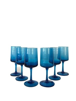 Mid Century Modern Set of 6 Blue Footed  Wine Glasses