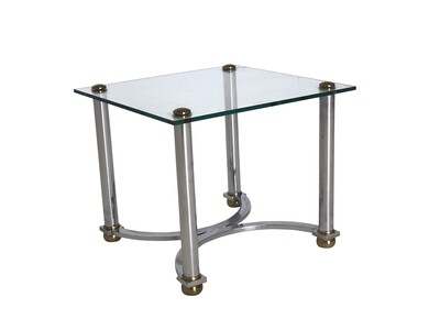 Mid Century Chrome and Brass Glass Topped End Table
