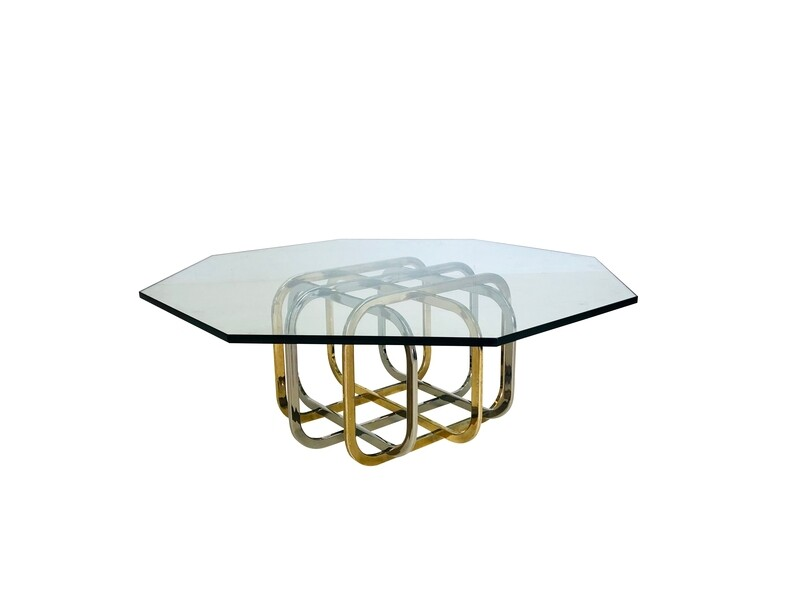 Mixed Metal Based Coffee Table with Hex Shaped Glass