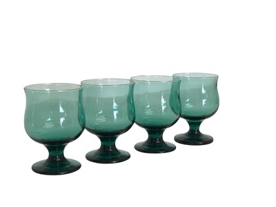 Mid Century Modern set of 4 Footed Glasses in Green with Gold Trim