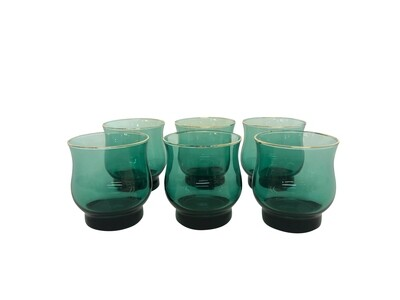 Mid Century Modern Set of 4 Rocks Glasses in Green with Gold Trim