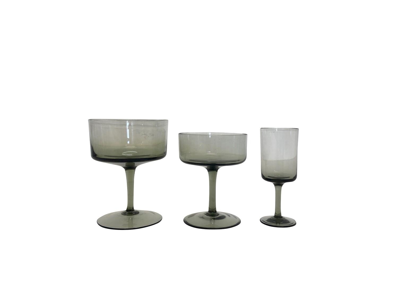 Amazing Set of 26 Mid Century Modern Gray Glassware