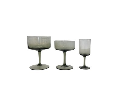 Amazing Set of 26 Mid Century Modern Gray Glassware