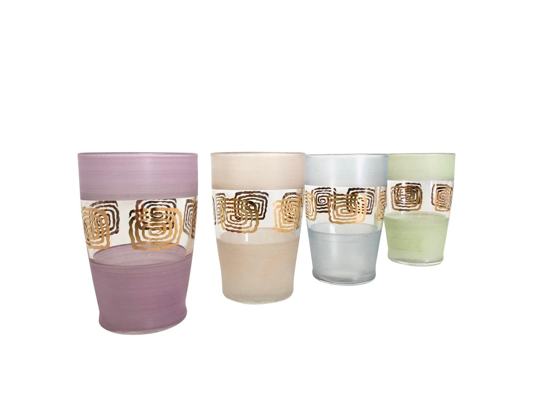 Vintage Set of 4 Hand Painted Glassware Set in Pastels
