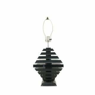Mid Century Modern Black Lucite Geometric Table Lamp