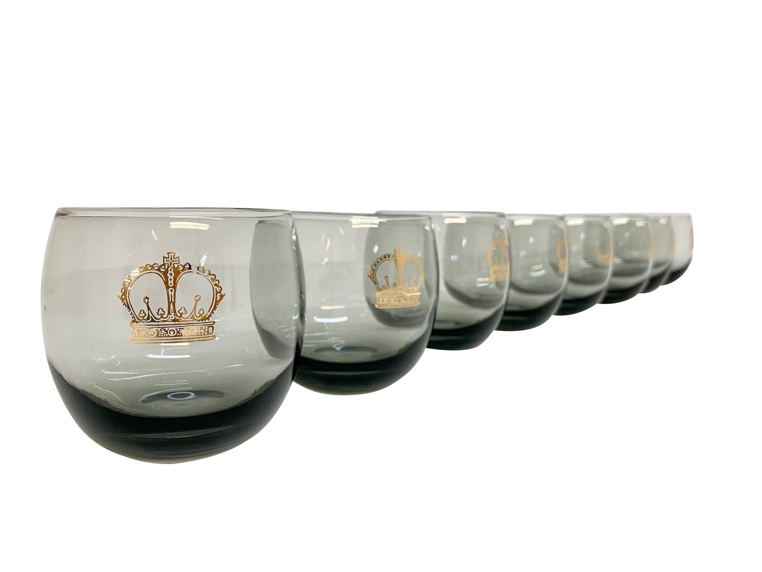 Crowned Set of 8 Roly Poly Barware in Smokey Gray