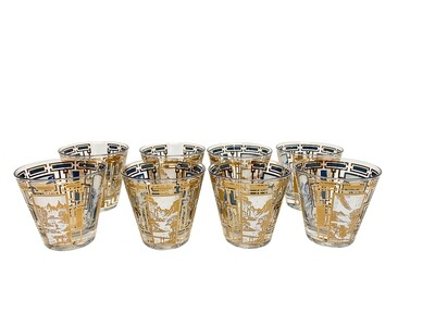 Mid Mod Set of 8 Gold Designed Nature Themed Glassware
