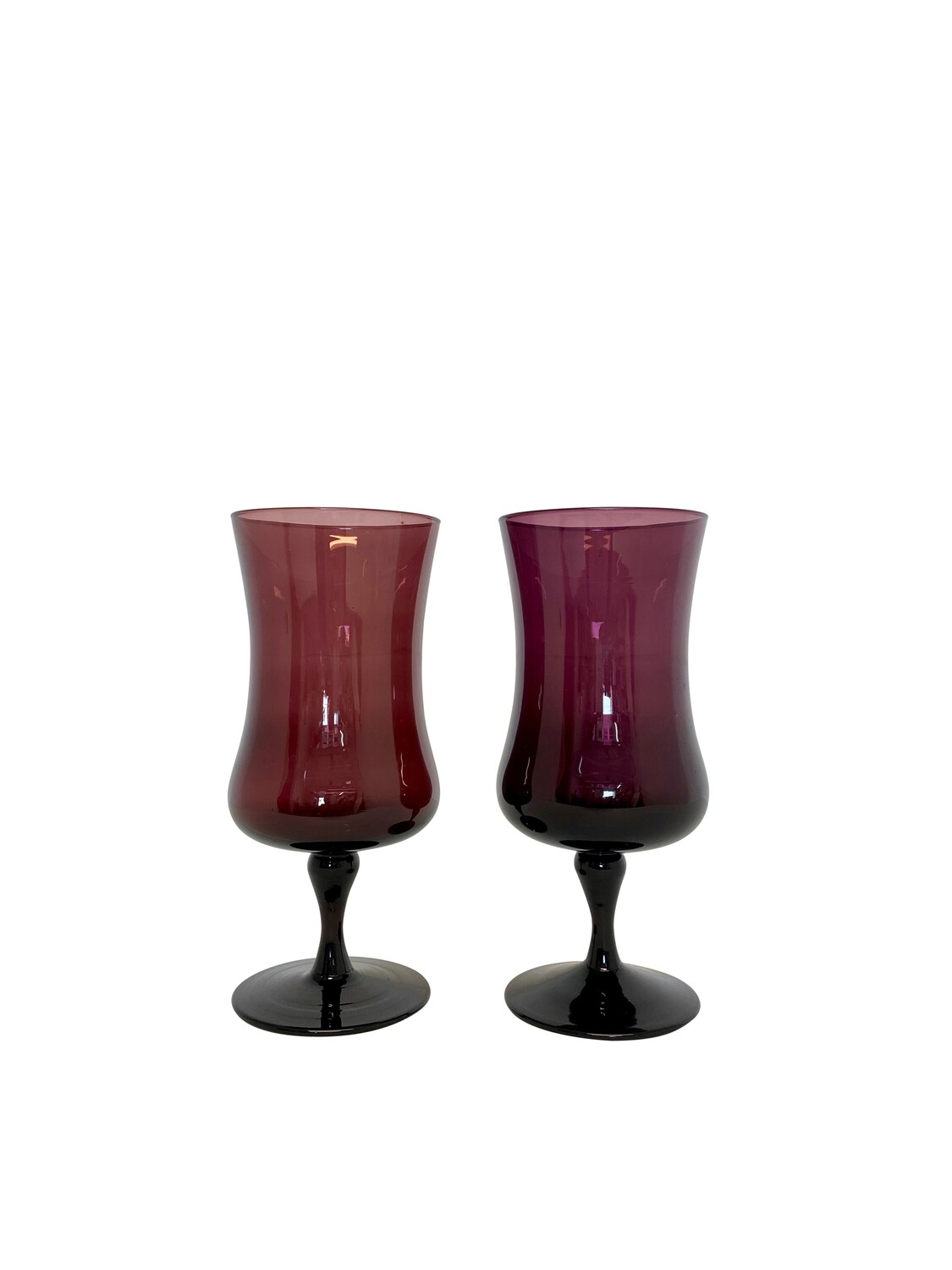 Mid Century Modern Footed Vases in Purple Hues