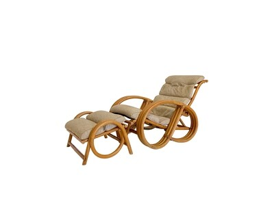 Mid Century Bamboo Pretzel Lounge Chair and Ottoman