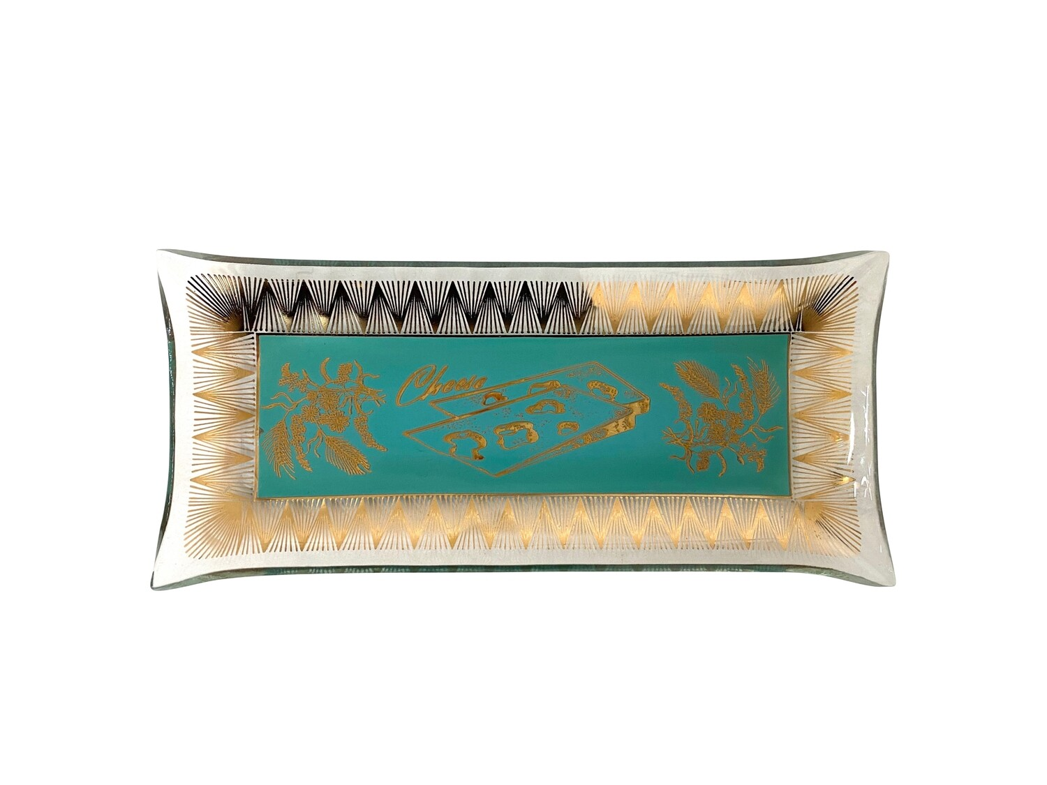Mid Mod Cheese Plate Tray in Aqua and Gold
