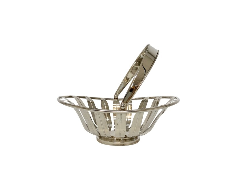 Vintage Silver Plated Sunflower Bread Basket with Handle