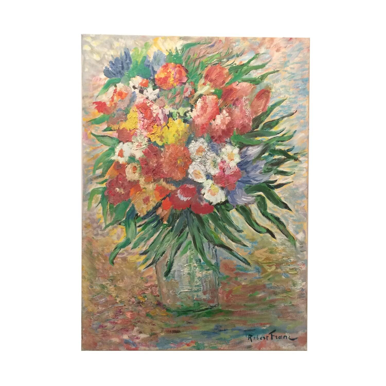 Vintage Impressionistic Florals in Vase