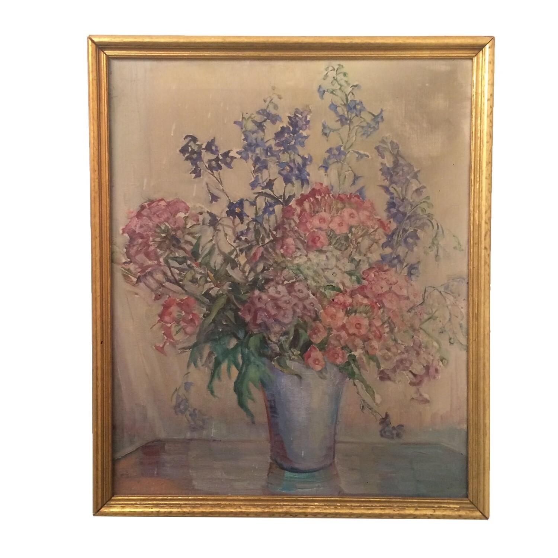 Antique Gold Framed Delicate Flower Painting