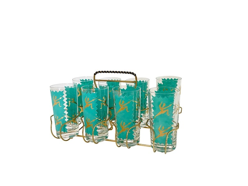 My Century Modern Vintage Fencing Themed Rocks Glasses- Set of 8
