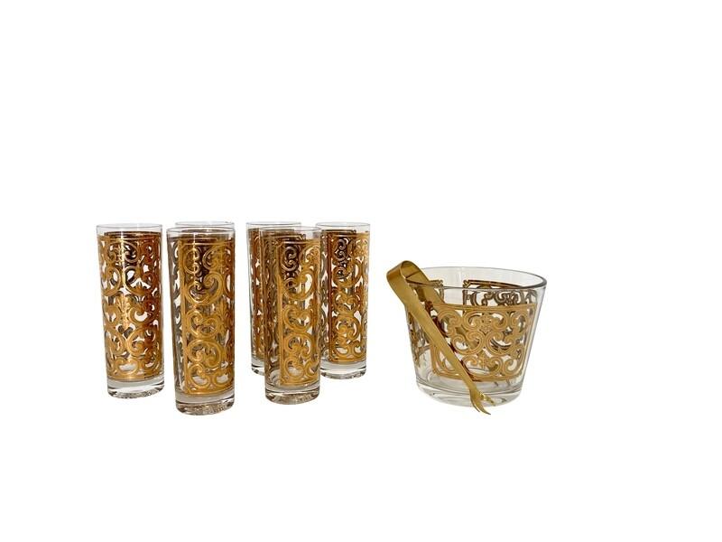 Mid Century 22 Karat Gold Fleur de Lis Glassware Set