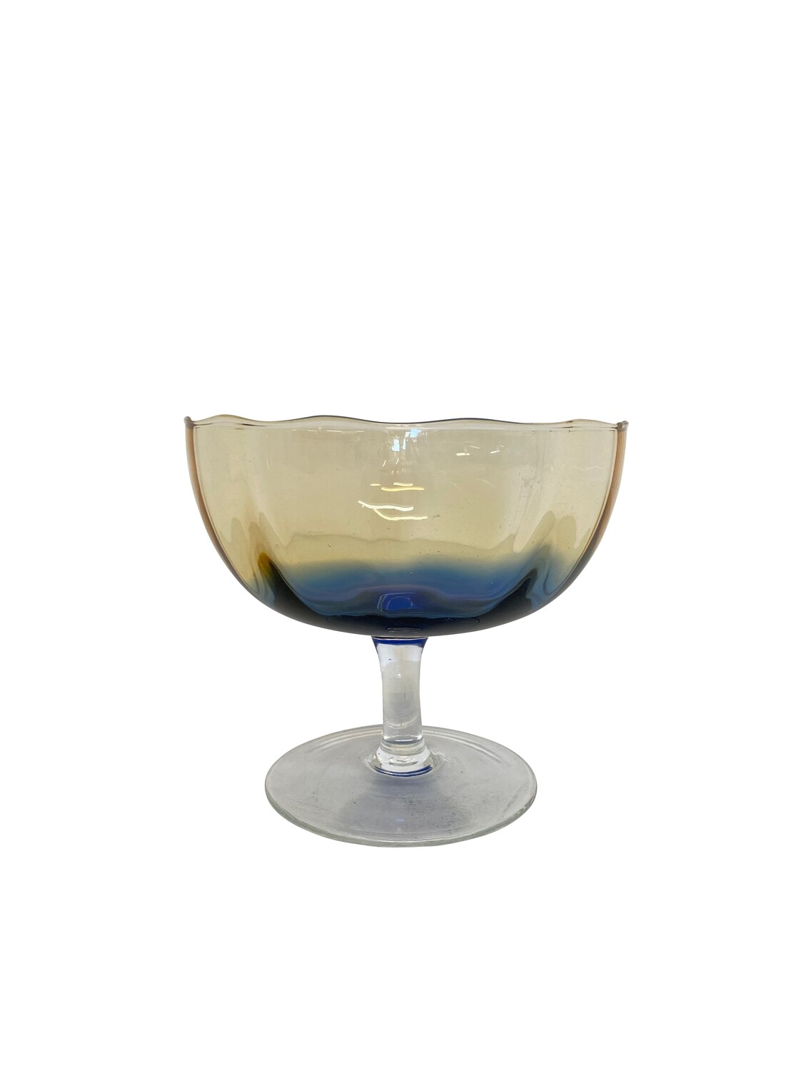 Mid Century Glass Footed Bowl in Hombre Hues of Blues and Ambers