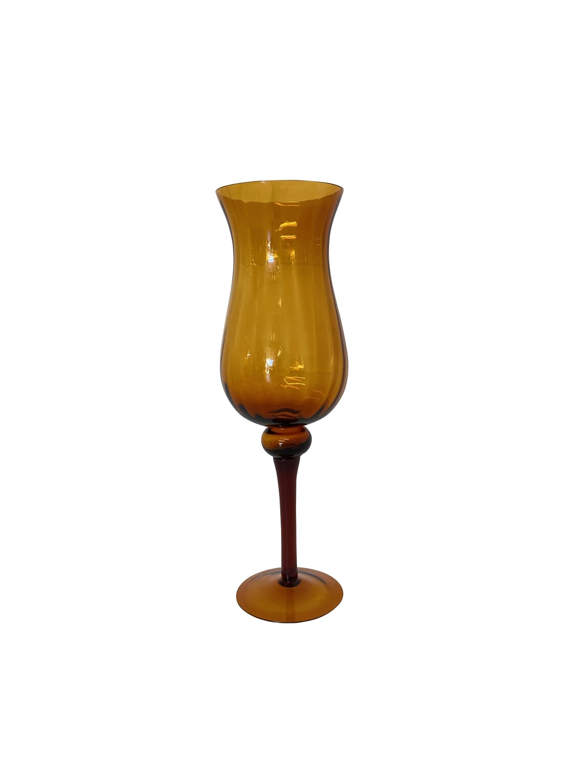 Tall Footed Mid Century Hand Blown Glass Vase