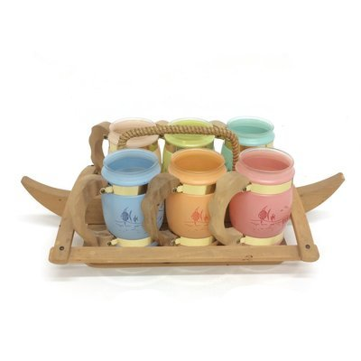 Siesta Ware Frosted Glass & Wood Set