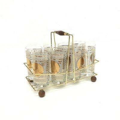Set of 8 Gold Adorned Incan Design Highball Glassware Set