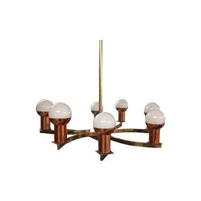 Modernist Brass & Copper Rare Chandelier