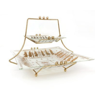 Mid Century Retro 2 Tiered Glass and Brass Tray Set